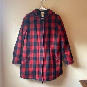 LEVIS Buffalo Check Plaid Hooded Jacket Coat Wool Blend Medium